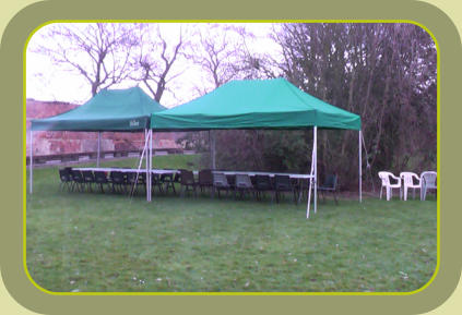 Gazebo's, tables and chairs in place for birthday party